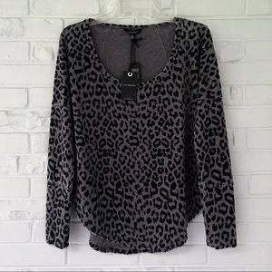 Lucky Brand Cheetah Print Thermal Top Small NWT